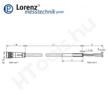 102669 X-KDM8/A-FL-10m/PVC szenzor mérőkábel aktív szenzorokhoz - 10 méter - 8pin egyenes csatlakozó - szabad szálak