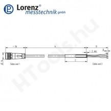 10316 X-KDM7/A-FL-5m/PVC szenzor mérőkábel passzív szenzorokhoz - 5 méter - 7pin egyenes csatlakozó - szabad szálak