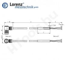 103348 X-KDM7/A-FL-5m/PVC szenzor mérőkábel passzív szenzorokhoz - 5 méter - 7pin derékszög csatlakozó - szabad szálak