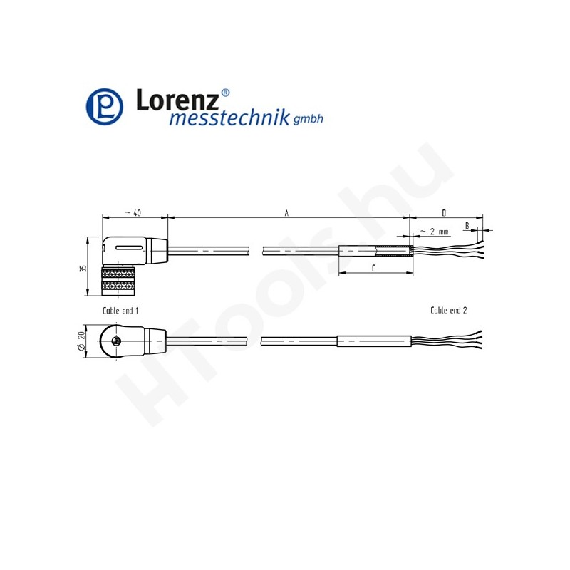 10387 X-KDW6/A-FL-10m/PVC szenzor mérőkábel passzív szenzorokhoz - 10 méter - 6pin derékszög csatlakozó - szabad szálak