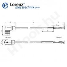 10387 X-KDW6/A-FL-3m/PVC szenzor mérőkábel passzív szenzorokhoz - 3 méter - 6pin derékszög csatlakozó - szabad szálak