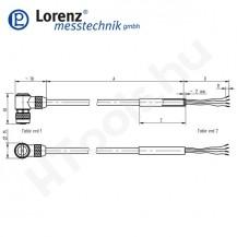 106082 X-KDMW8/A-FL-3m/PVC szenzor mérőkábel aktív szenzorokhoz - 3 méter - 8pin derékszög csatlakozó - szabad szálak