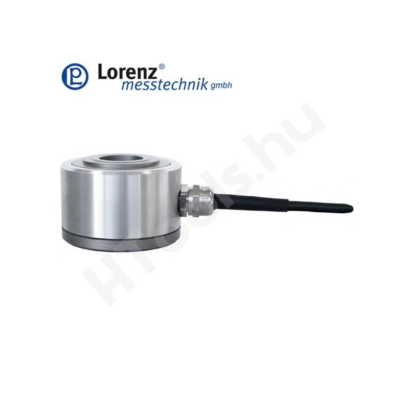 K-18 nyomó erőmérő cella - sík felület középső átmenő furattal és spigot csatlakozók két oldalon - 5-500 kN - 0.5% - 1 mV/V